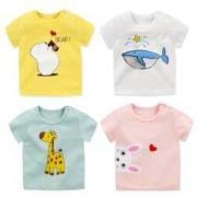 PLUS会员:轩逸童装 儿童短袖T恤 多款任选*4件