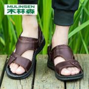大额神券:木林森 男夏季新款休闲真皮凉鞋69元包邮(需用券)