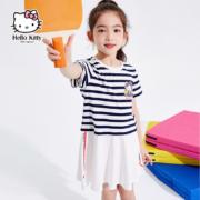 A类品,Hellokitty 2021夏季新款 女童 洋气条纹短袖连衣裙双重优惠83元包邮