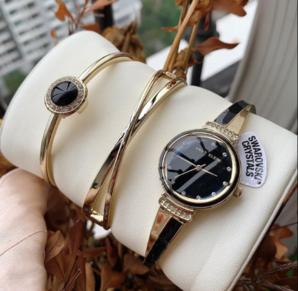 Anne Klein 安妮·克莱恩 AK/3292BKST 施华洛世奇水晶 女士手镯手表套装 到手254.93元