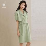 PLUS会员:FANSILANEN 范思蓝恩 Z200915 女士收腰显瘦风衣连衣裙119元包邮(需用券)