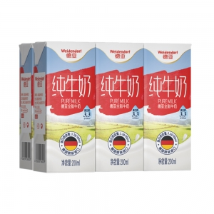 Weidendorf 德亚  德国 全脂纯牛奶  200ml*6盒装*8件