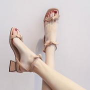 Cardanro 卡丹路 女士蝴蝶结一字带凉鞋