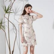 3COLOUR 三彩  修身烫金连衣裙 雪纺中国风 旗袍裙  D362H1064L1001289元包邮