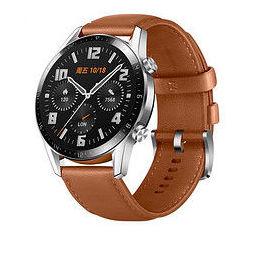 HUAWEI 华为 WATCH GT 2 时尚款 智能手表 46mm 银色表盘 砂砾棕皮质表带(血氧、GPS、扬声器)