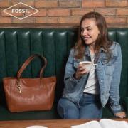 Fossil 化石 EMMA系列 女士复古牛皮单肩手提托特包  AZB6844001 2色
