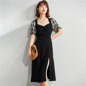 Rosel  法式泡泡袖 拼接格子连衣裙 WR12L001B0