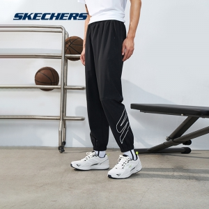 Skechers斯凯奇夏季冰丝速干裤子梭织束脚休闲运动裤男薄款长裤女