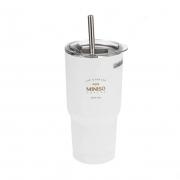 MINISO 名创优品 经典黑白系列 吸管钢杯 580ml24.9元包邮(需定金5元)