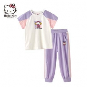 Hello Kitty  凯蒂猫  女童短袖裤子 2件套 110-160CM79元包邮(慢津贴后75.95元)(超级补贴)