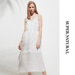 super.natural 吊带雪纺裙  蕾丝拼接波点连衣裙 SNURW032930333