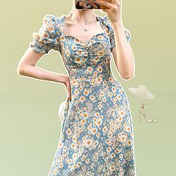 stylecloth 诗可洛  撞色碎花 泡泡袖连衣裙 SK-LZWJ0200F0