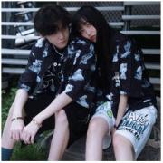 GUUKA 古由卡 潮流印花短袖衬衫/T恤 宽松版 男女同款