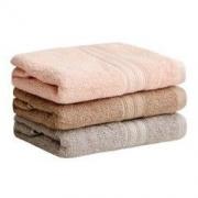 JIWU 苏宁极物 全棉毛巾套装 三条装 粉 灰 咖啡