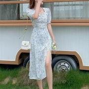 LaChapelle  拉夏贝尔旗下 女式方领小碎花  开叉连衣裙  24183-12AW-69116元包邮