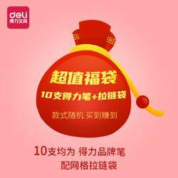 deli 得力 文具盲盒 10支品牌中性笔 送网纱笔袋
