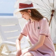 3COLOUR 三彩  短袖直筒Polo连衣裙123元包邮