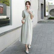 TERREBLEUE 衬衫连衣裙  V领中长款裙子  X21HH21G011QLV