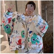 ROSUYA 5006-1-jpxp 女士涂鸦风羽绒服45.6元包邮