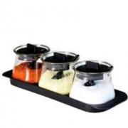 Citylong 禧天龙 玻璃调料罐 3个装+3勺+托盘9.9元(需用券)