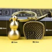 CamalgOri 中国风 手工纯黄铜葫芦 挂饰 葫芦+簸箕+锄头一套装
