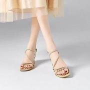 Five Plus 5+ 2NV2516250510 女士水钻一字粗跟凉鞋