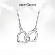Chow Tai Seng 周大生 简约ins小众设计双心锁骨链