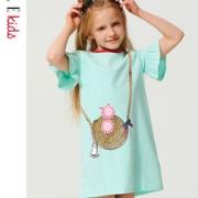 ELLE kids 女童荷叶边短袖连衣裙