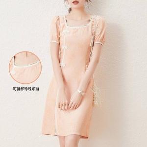 LOUISYAO 白鹿语 珍珠链旗袍 复古风连衣裙 WYU216800706