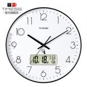 TIMESS 中国码电波表 12英寸 日期温度显示 自动对时分秒不差