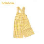 balabala 巴拉巴拉 小童七分格纹背带裤