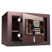 PLUS会员:deli 得力 锐剑系列 33118 保险柜 棕色 密码解锁/机械锁 25cm