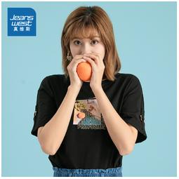 JEANSWEST 真维斯 JW-02-273TB524 女士纯棉印花短袖