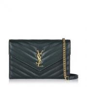 SAINT LAURENT 圣罗兰 Yves Saint Laurent女士深绿色字母logo单肩包