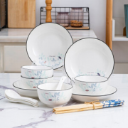 PLUS会员、釉下彩! 瓷源阁 金叶自然 16头碗盘套装¥29.90 2.0折