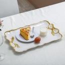 SHALL 希尔 水果蛋糕餐具多用托盘 欧式花边长方大号金边816716