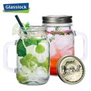 Glasslock 三光云彩 玻璃茶杯带盖 750ml带手柄*2(金色+银色)¥29.90 3.0折