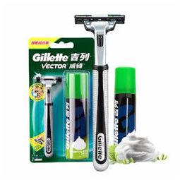 Gillette 吉列 剃须刀刮胡刀手动 旋转刀头 剃须泡沫 威锋超值组合装(1刀架1刀头+50g须泡)
