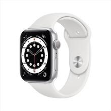 Apple Watch Series 6智能手表 GPS款 44毫米深空灰色铝金属表壳 白色运动型表带 M00H3CH/A