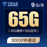 CHINA TELECOM 中国电信 紫星卡 9元月租(35G通用流量+30G定向流量+300分钟国内通话)¥3.90 4.4折 比上一次爆料降低 ¥1