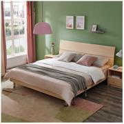 QuanU 全友 106302 105001 简约板式床 床垫 床头柜 白橡木色 1.5m床1460元