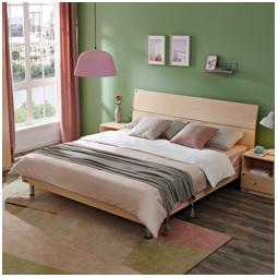 QuanU 全友 106302 105001 简约板式床 床垫 床头柜 白橡木色 1.5m床