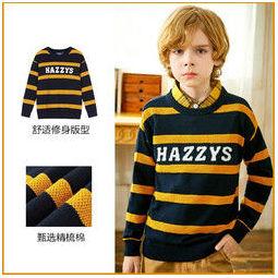 PLUS会员:HAZZYS 哈吉斯 儿童英伦风条纹针织衫
