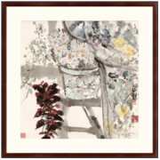 Artron 雅昌 袁野油画 原作版画《晨妆》88×88cm 油画布 咖啡红633元