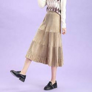 Puella 女士灯芯绒高腰A字半身裙 2J03024HQ201