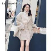 La Chapelle 拉夏贝尔 女子毛呢外套短裙套装220元包邮(需用券)