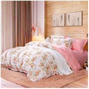 FUANNA 富安娜 家纺 四件套纯棉ins风全棉床上用品套件床单被套 小清新双人加大 汐颜 1米8/2米床(230*229cm)粉色