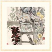Artron 雅昌 袁野《晨妆》88×88cm 新中式现代花卉风景国画水墨画