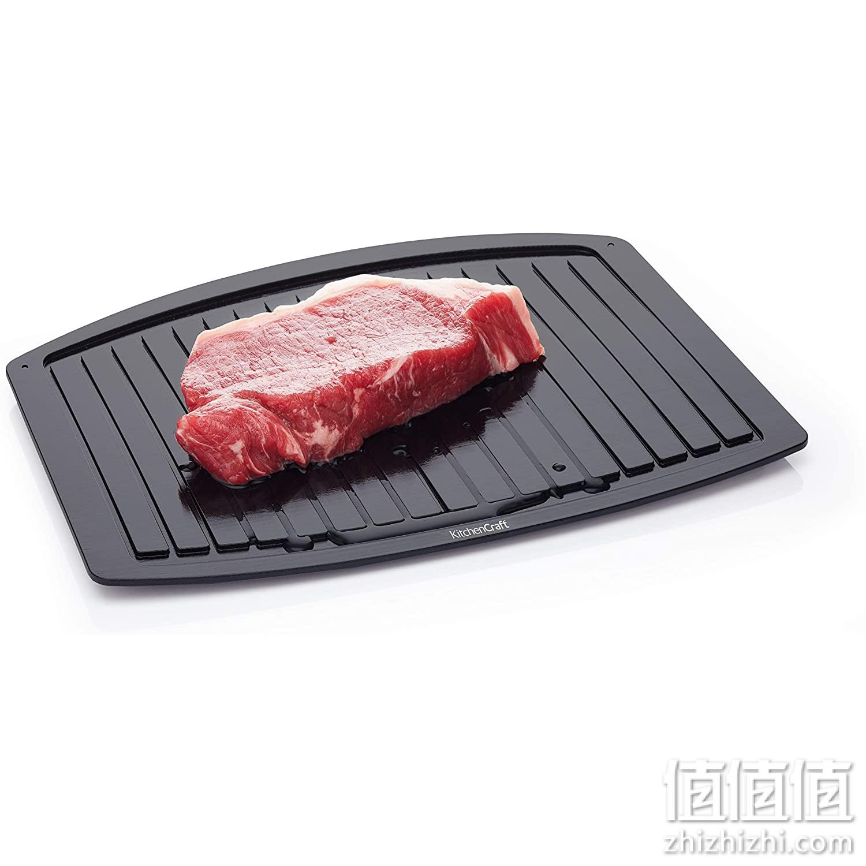 KitchenCraft 除霜托盘 – 快速解冻盘 适用于冰冻食物,铝,黑色,33 x 22 厘米