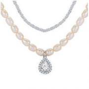 TekapoJade XL0004-04 双层水滴坠珍珠锆石项链